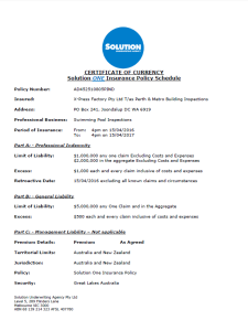 Certificate of Currency Swimming Pool Inspection Page1