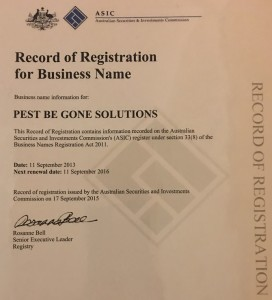 Pest Be Gone Solutions - Business Name Registration