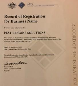 Pest Be Gone Solutions - Business Name Registration